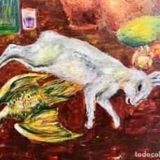 Arte: CUADRO AL OLEO BODEGON DE CAZA PINTURA CONEJO SOBRE TABLA AÑOS 90. Lote 98803315