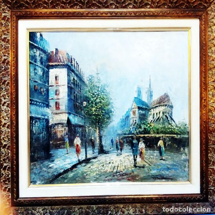 MAGNIFICA OBRA DE OLEO S/ LIENZO -PARIS Y NOTRE DAME- EXPRESIONISTA. 61 X 51 CM.PAPARTOUS.ENMARCADO (Arte - Pintura - Pintura al Óleo Moderna sin fecha definida)