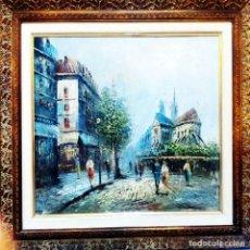 Arte: MAGNIFICA OBRA DE OLEO S/ LIENZO -PARIS Y NOTRE DAME- EXPRESIONISTA. 61 X 51 CM.PAPARTOUS.ENMARCADO. Lote 202545106