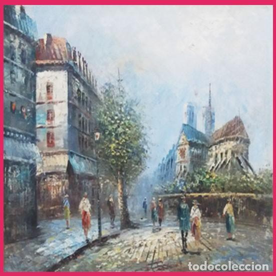 Arte: MAGNIFICA OBRA DE OLEO S/ LIENZO -PARIS Y NOTRE DAME- EXPRESIONISTA. 61 X 51 CM.PAPARTOUS.ENMARCADO - Foto 2 - 202545106