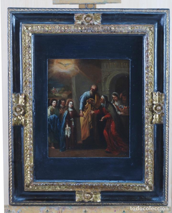 ÓLEO TABLA VISITACIÓN DE LA VIRGEN A SU PRIMA SANTA ISABEL ESCUELA SEVILLANA SIGLO XVII (Arte - Pintura - Pintura al Óleo Antigua siglo XVII)