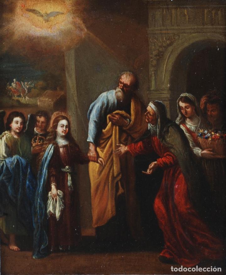 Arte: Óleo tabla Visitación de la Virgen a Su prima Santa Isabel Escuela Sevillana siglo XVII - Foto 2 - 202586097