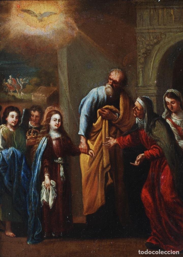 Arte: Óleo tabla Visitación de la Virgen a Su prima Santa Isabel Escuela Sevillana siglo XVII - Foto 3 - 202586097