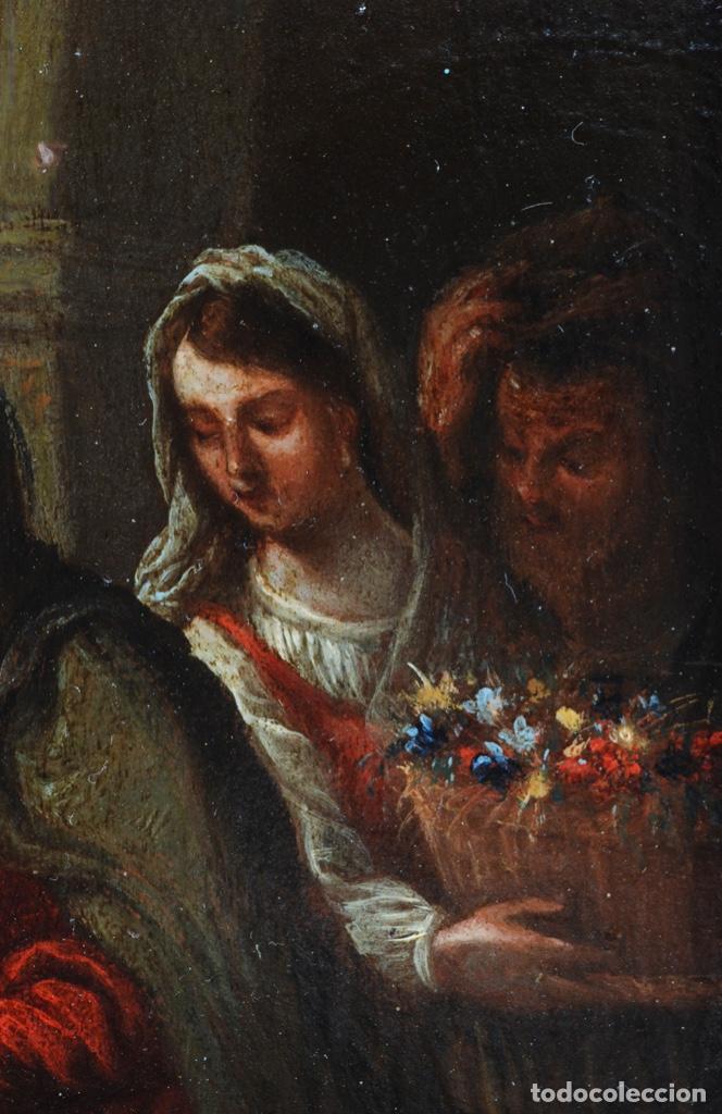 Arte: Óleo tabla Visitación de la Virgen a Su prima Santa Isabel Escuela Sevillana siglo XVII - Foto 4 - 202586097