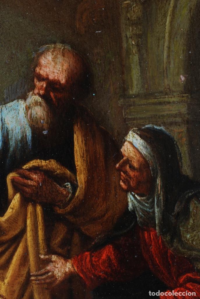 Arte: Óleo tabla Visitación de la Virgen a Su prima Santa Isabel Escuela Sevillana siglo XVII - Foto 5 - 202586097