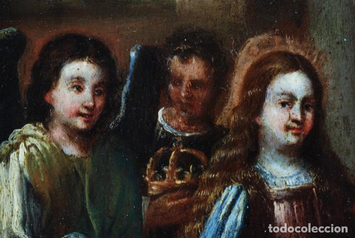 Arte: Óleo tabla Visitación de la Virgen a Su prima Santa Isabel Escuela Sevillana siglo XVII - Foto 7 - 202586097