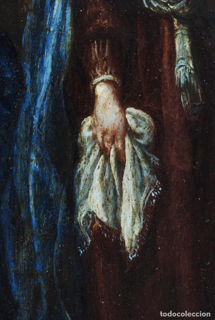 Arte: Óleo tabla Visitación de la Virgen a Su prima Santa Isabel Escuela Sevillana siglo XVII - Foto 9 - 202586097