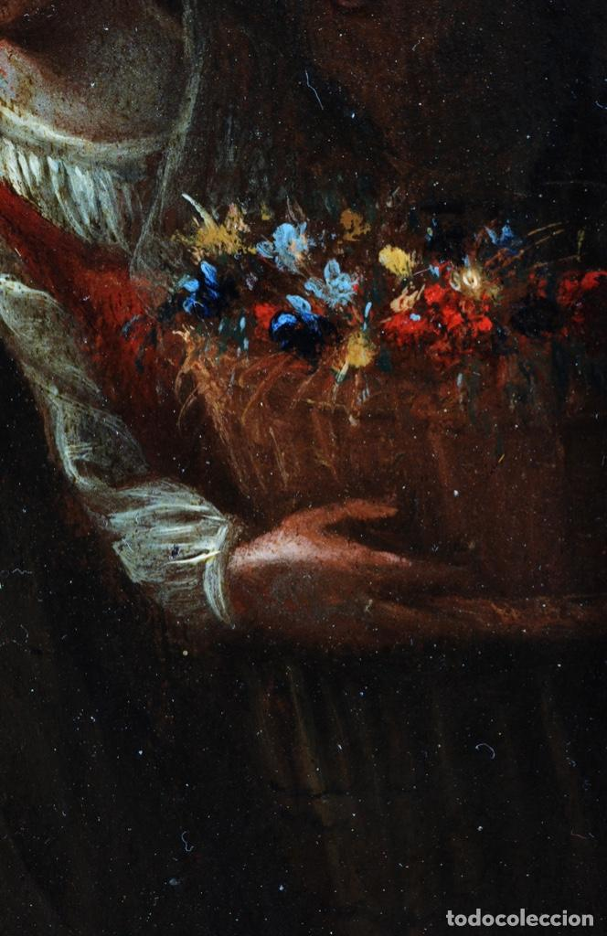 Arte: Óleo tabla Visitación de la Virgen a Su prima Santa Isabel Escuela Sevillana siglo XVII - Foto 10 - 202586097