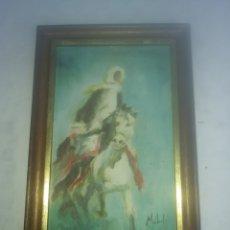 Arte: CADRO PINTADO AL OLEO , JINETE A CABALLO. MARCO DE 21 X 34 CM , 1978. Lote 202593818
