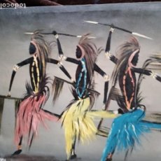 Arte: ARTE AFRICANO / ÓLEO S. LIENZO / * DANZA TRIBAL AFRICANA *. FIRMADO: P. MWAKISIN. Lote 202682382