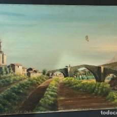 Arte: GRAUS ( HUESCA ) PINTURA AL OLEO / PUENTE DE ABAJO - COLEGIATA - TURBON ( FIRMA - M.S. ) 61 X 41. Lote 202727343