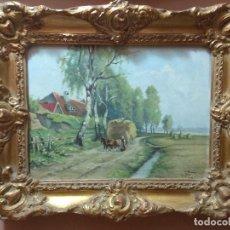 Arte: CUADRO OLEO PAISAJE IMPRESIONISTA SOBRE TABLEX FIRMADO EMIL KRAUS 1948 MUY ANTIGUO REF.15. Lote 192698285