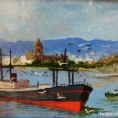 Arte: CUADRO OLEO MARINA PUERTO DE MALAGA SOBRE TABLA FIRMADO ANTIGUO CON IMPORTANTE MARCO DORADO. Lote 202791916