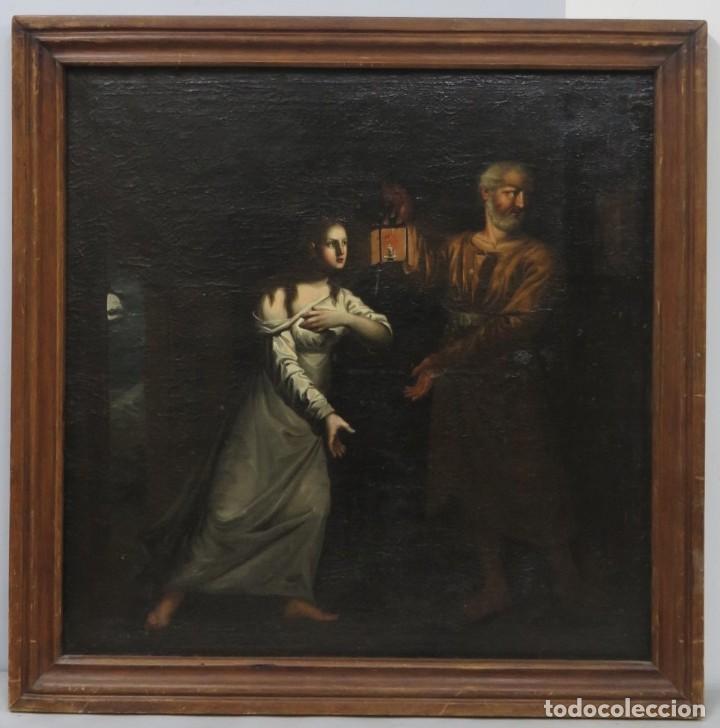 INTERSANTE ESCENA TENEBRISTA DE INTERIOR. OLEO S/ LIENZO. SIGLO XVII-XVIII (Arte - Pintura - Pintura al Óleo Antigua siglo XVIII)