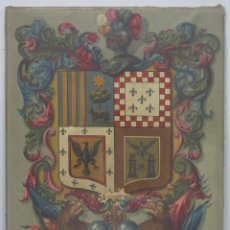 Arte: ESCUDO HERALDICO DE 4 CUARTELES. OLEO S/ LIENZO. PPIOS. SIGLO XX. Lote 202849368