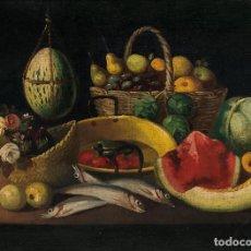 Arte: ESCUELA ESPAÑOLA, FINALES SIGLO XVIII - BODEGÓN DE FRUTAS Y PESCADO - 61*83CM. Lote 203065132