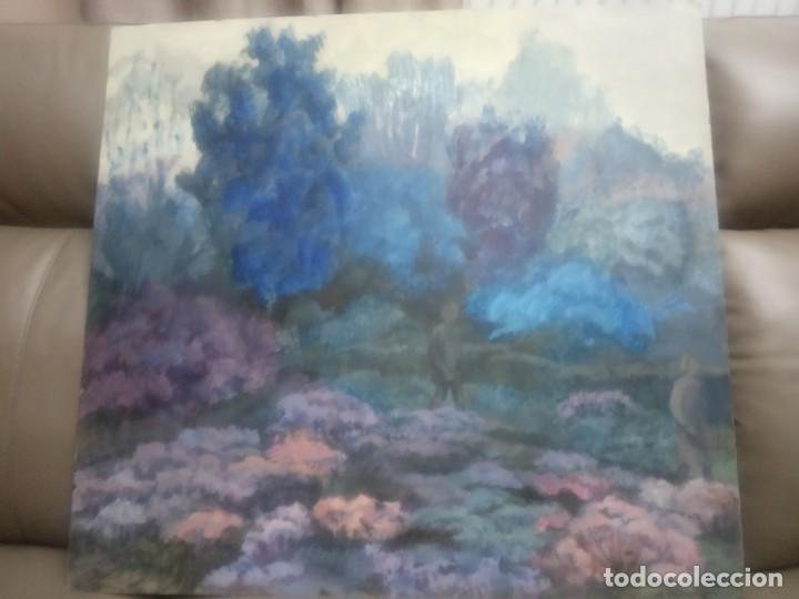 OLEO SOBRE TABLERO DOS PERSONAS PASEANDO (Arte - Pintura - Pintura al Óleo Moderna siglo XIX)