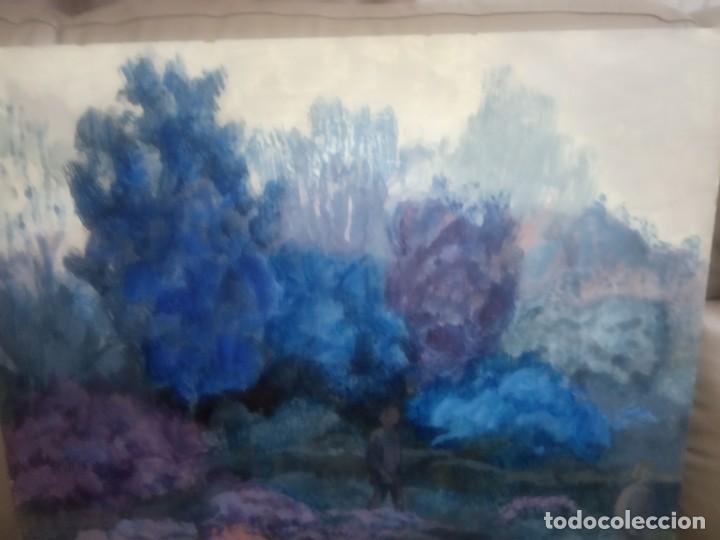 Arte: OLEO SOBRE TABLERO DOS PERSONAS PASEANDO - Foto 3 - 203146448