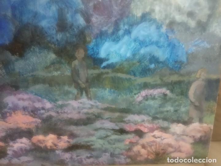 Arte: OLEO SOBRE TABLERO DOS PERSONAS PASEANDO - Foto 6 - 203146448