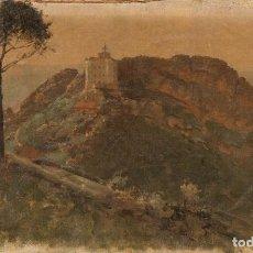 Arte: PEDRO ALEJANDRO IRURETA (TOLOSOA 1854-SAN SEBASTIÁN 1912) - EL FARO DE LA PLATA, PASAJES - 28 X 44CM. Lote 203243940