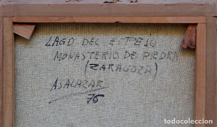Arte: Alfredo Salazar, lago del espejo, monasterio de piedra, 1976, pintura al óleo sobre tela, Zaragoza. - Foto 2 - 203320228
