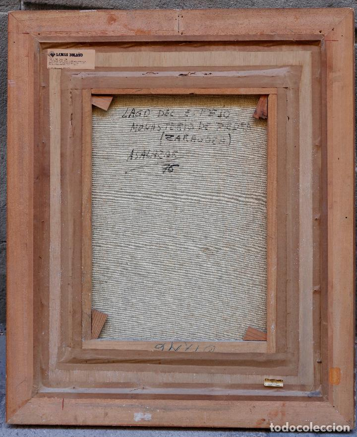 Arte: Alfredo Salazar, lago del espejo, monasterio de piedra, 1976, pintura al óleo sobre tela, Zaragoza. - Foto 3 - 203320228