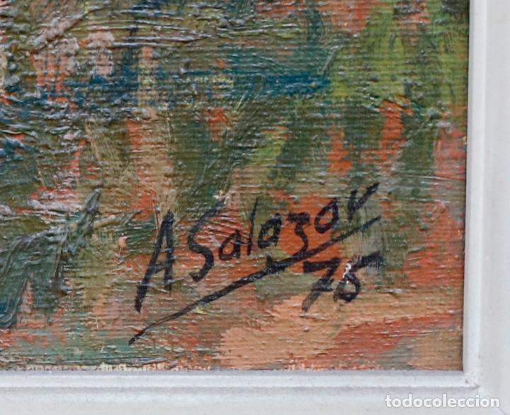 Arte: Alfredo Salazar, lago del espejo, monasterio de piedra, 1976, pintura al óleo sobre tela, Zaragoza. - Foto 4 - 203320228