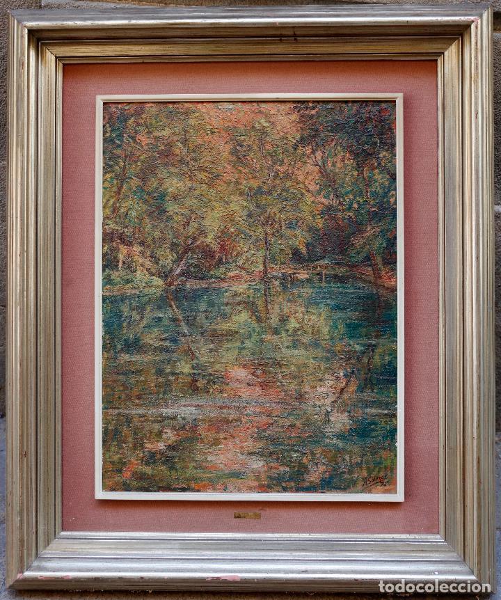 ALFREDO SALAZAR, LAGO DEL ESPEJO, MONASTERIO DE PIEDRA, 1976, PINTURA AL ÓLEO SOBRE TELA, ZARAGOZA. (Arte - Pintura - Pintura al Óleo Contemporánea )