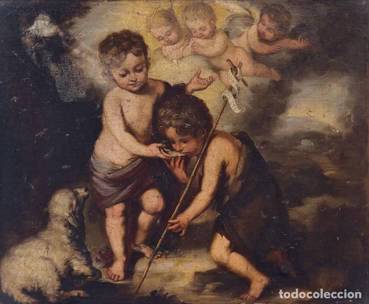 ESCUELA ESPAÑOLA, SIGLO XVIII - LOS NIÑOS DE LA CONCHA - ÓLEO/LIENZO. - 35,5 X 42 CMS (43,5X50,5CM) (Arte - Pintura - Pintura al Óleo Antigua siglo XVIII)