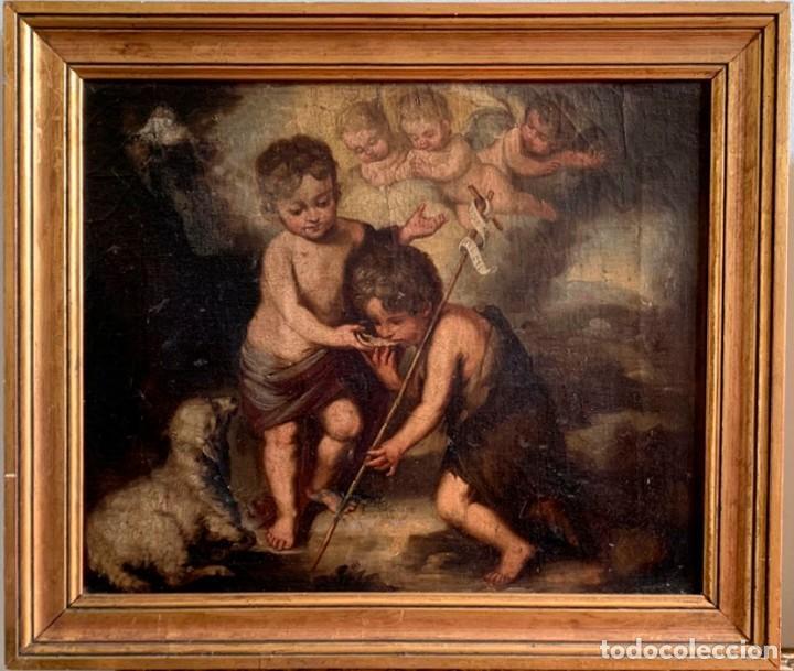 Arte: Escuela Española, Siglo XVIII - Los niños de la Concha - Óleo/Lienzo. - 35,5 x 42 cms (43,5x50,5cm) - Foto 2 - 203347088