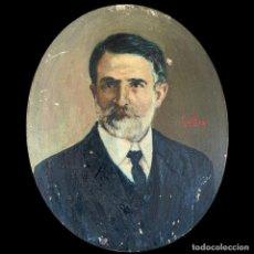 Art: JESÚS GALLEGO RODRÍGUEZ (VALLADOLID 1919 - SAN SEBASTIÁN 2004 - RETRATO DE CABALLERO -COBRE - 13*10. Lote 203364225