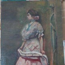 Arte: ROGELIO MIRANDA.S.XIX-XX MUJER DE PERFIL OLEO SOBRE LIENZO. Lote 203382200