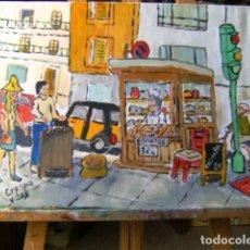 Arte: BARCELONA INSOLENTE: CASTAÑAS Y BONIATOS ,ÓLEO LIENZO 40X50 CM. CON BASTIDOR, AUTOR CRESPO. Lote 203501762