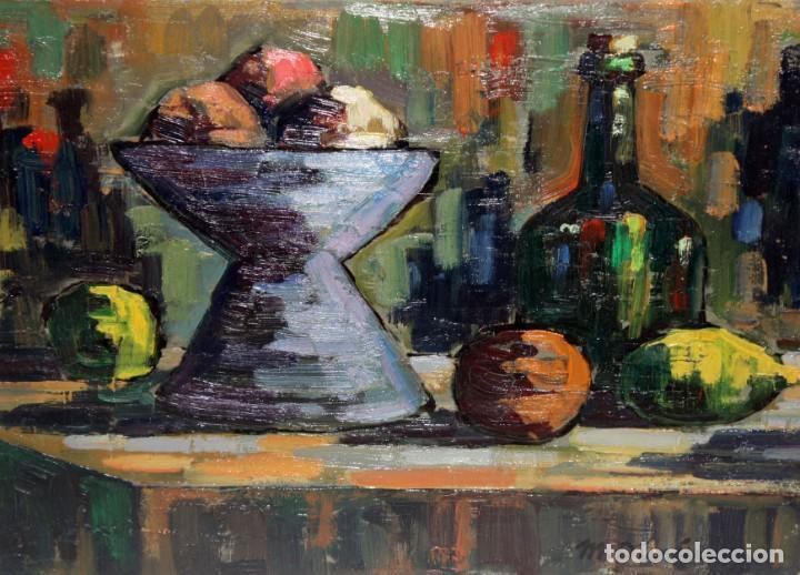 MIQUEL DURAN I CARRERA (OLOT, 1939) OLEO SOBRE CARTULINA. BODEGON (Arte - Pintura - Pintura al Óleo Contemporánea )