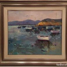 Arte: MONTSERRAT VILLAESCUSA MASSA, (PALAFRUGELL 1944), OLEO SOBRE TELA, (65X54), MARINA. Lote 203926378