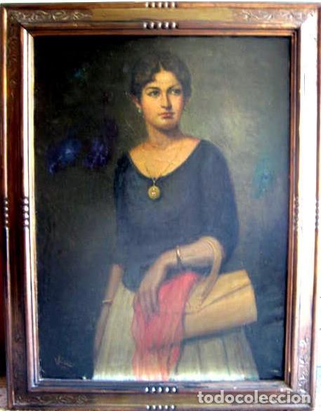 Arte: IMPORTANTE OBRA. VICENTE RENAU TORRENT (CASTELLÓN,1872-1966). RETRATO DE DAMA. ÓLEO 100X75 CMS. - Foto 2 - 203942730
