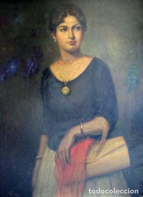 Arte: IMPORTANTE OBRA. VICENTE RENAU TORRENT (CASTELLÓN,1872-1966). RETRATO DE DAMA. ÓLEO 100X75 CMS. - Foto 3 - 203942730
