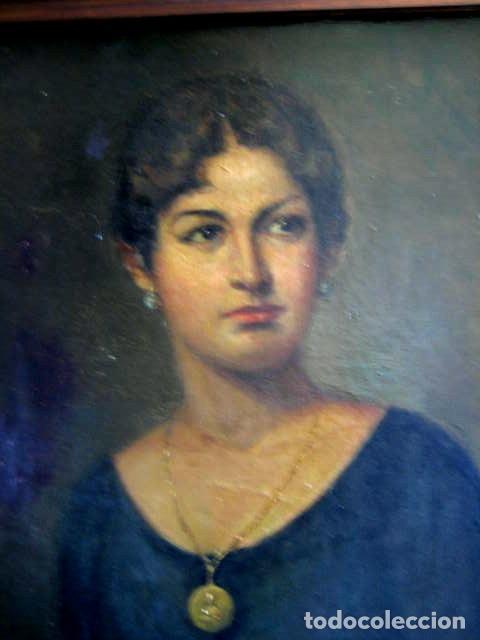 Arte: IMPORTANTE OBRA. VICENTE RENAU TORRENT (CASTELLÓN,1872-1966). RETRATO DE DAMA. ÓLEO 100X75 CMS. - Foto 4 - 203942730