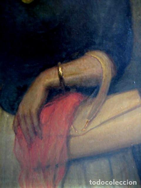 Arte: IMPORTANTE OBRA. VICENTE RENAU TORRENT (CASTELLÓN,1872-1966). RETRATO DE DAMA. ÓLEO 100X75 CMS. - Foto 6 - 203942730