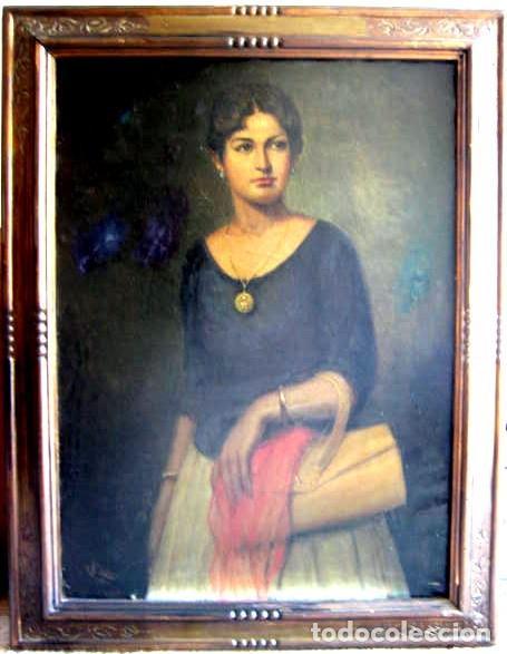 Arte: IMPORTANTE OBRA. VICENTE RENAU TORRENT (CASTELLÓN,1872-1966). RETRATO DE DAMA. ÓLEO 100X75 CMS. - Foto 10 - 203942730