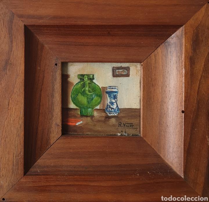 ROSER VILAR AYMERICH (TARRAGONA, 1925 - FIGUERAS,2011) - BODEGÓN MINIATURA.OLEO/TABLA.FIRMADO.1943. (Arte - Pintura - Pintura al Óleo Antigua sin fecha definida)