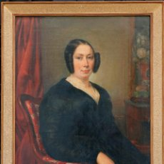 Arte: RETRATO DE MUJER, PINTURA AL ÓLEO SOBRE LIENZO, 1843, FIRMADO PHILADELPHE, CON MARCO. 90X71CM. Lote 203980378