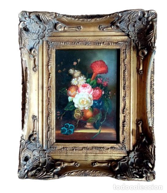 PINTURA BODEGON FLORAL,CARVERS & GILDERS (INGLATERRA S XIX) (Arte - Pintura - Pintura al Óleo Moderna siglo XIX)