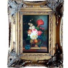 Arte: PINTURA BODEGON FLORAL,CARVERS & GILDERS (INGLATERRA S XIX). Lote 204022522