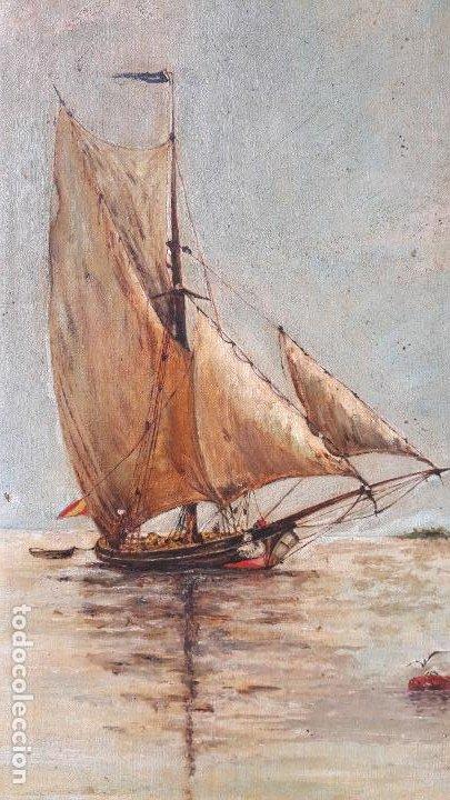 Arte: magnifica pintura al oleo sobre lienzo firmada y dedicada detras,siglo xix - Foto 3 - 204089523