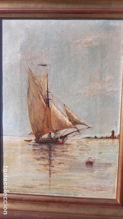 Arte: magnifica pintura al oleo sobre lienzo firmada y dedicada detras,siglo xix - Foto 4 - 204089523