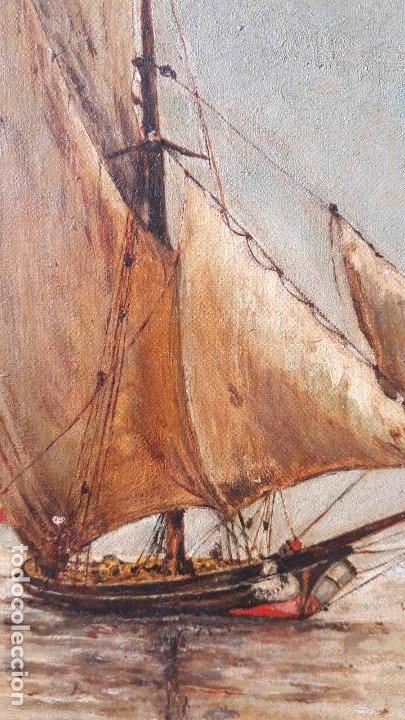 Arte: magnifica pintura al oleo sobre lienzo firmada y dedicada detras,siglo xix - Foto 5 - 204089523
