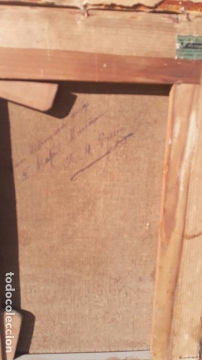 Arte: magnifica pintura al oleo sobre lienzo firmada y dedicada detras,siglo xix - Foto 6 - 204089523