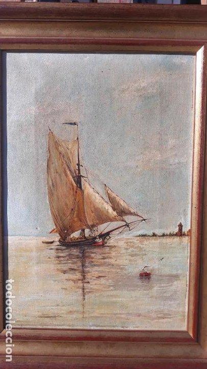 Arte: magnifica pintura al oleo sobre lienzo firmada y dedicada detras,siglo xix - Foto 7 - 204089523
