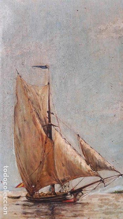 Arte: magnifica pintura al oleo sobre lienzo firmada y dedicada detras,siglo xix - Foto 8 - 204089523